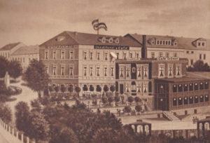 Kaffeehaus Trömel - Anbau, Küche, Backstude und Terrassengarten, Postplatz 9, 1890