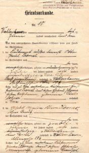 Heiratsurkunde Paul Trömel Klara Körner 1903