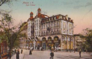 Ansichtskarte mit dem Kaffeehaus Trömel in Plauen, um 1915
