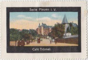 Werbemarke des Kaffeehauses Trömel in Plauen
