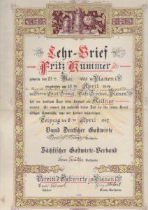 Lehrbrief eines Gesellen aus dem Kaffeehaus Trömel in Plauen, 08.04.1917