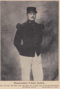 Zeitungsausschnitt Otto Paul Trömel, Bürgermeister von Usedom, kurz nach seiner Entlassung aus der Französischen Fremdenlegion im Jahr 1913