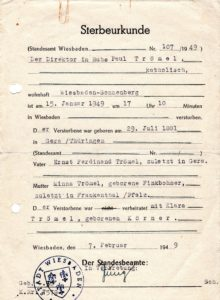 Sterbeurkunde Otto Paul Trömel 1949