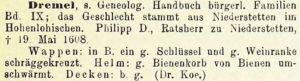 Beschreibung des Wappens von Philipp Dremel