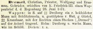 Beschreibung des Wappens der Brüder Dremel, verliehen 1471 in Regensburg